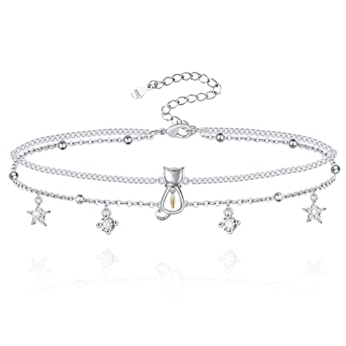 Hxillery Anklets for Women 925 Sterling Silver Anklet Cat Fish Star Sea Double Layered Gifts Adjustable Beads Ankle Bracelets Jewelry for Teen Girls Friend