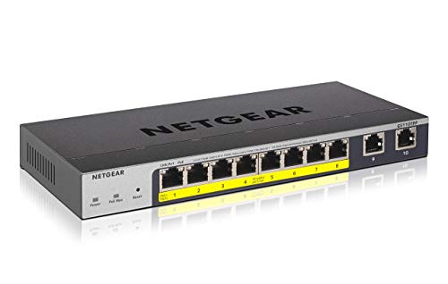NETGEAR GS110TPP 10-Port Gigabit Ethernet LAN PoE Switch Smart Managed Pro (mit 8x PoE+ 120W, 2x Kupfer-Ports, Desktop- oder Wand-Montage mit ProSAFE Lifetime-Garantie)