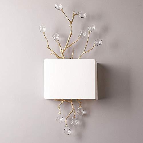 Lámparas de pared de Springhua Puerta de cristal retro del oro apliques de pared modernos Pasarela de pared luces de la habitación Sala de la Princesa llevó la lámpara blanca cortina de lámpara de par