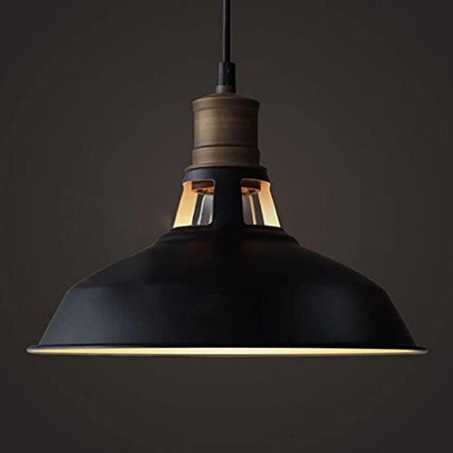 MADBLR7 Lámpara Colgante de Metal de Hierro Vintage, lámpara de Techo Negra, Pantalla, lámpara Colgante de Metal con luz Ajustable Retro Industrial, para Restaurante, mostrador, ático, librería, E27