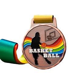 Watermzk Paquete de 6 medallas de Bronce Personalizadas, para el Ganador de Baloncesto, Logotipo Personalizado Grabado, 3er premios, con Cinta para el Cuello, (Baloncesto)