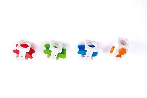 Hape E6025 - Steuerblock-Set, Zubehör für Quadrilla Kugelbahnen, vier verschiedene Steuerblöcke, ab 4 Jahren, mehrfarbig