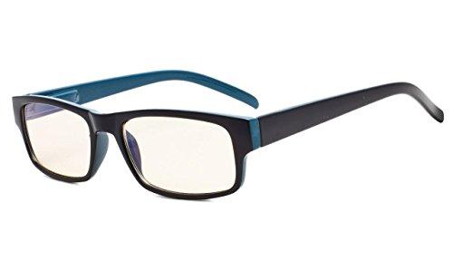 Eyekepper UV-Schutz Lesebrille mit Bernstein getönten Linse (schwarz/blau, 1.0)