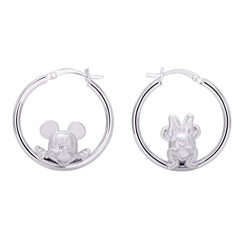 Disney Mickey And Minnie Mouse Jewelry for Women and Girls, Sterling Silver Mickey And Minnie Hoop Earrings Mickey's 90th Birthday Anniversary