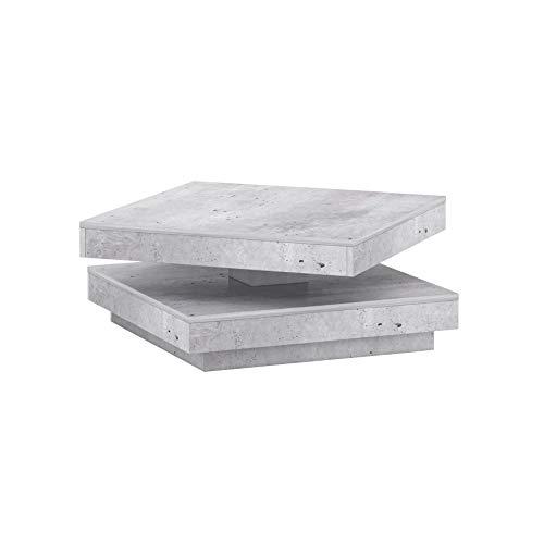 Mesa de centro giratoria de hormigón, fácil de limpiar, diseño moderno, se adapta a cualquier estilo (gris).