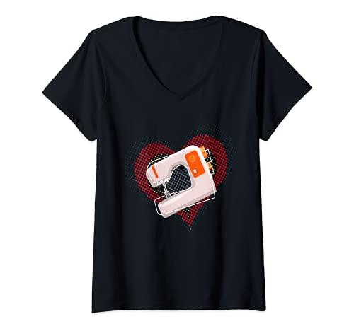 Mujer Costura I Corazón I Aguja De Coser Hilo De Bordar Accesorios Camiseta Cuello V