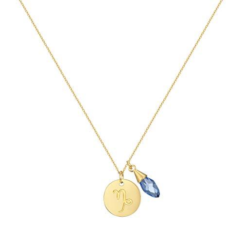 Segni zodiacali Capricorno collana con pendente CZ Gem pietra di nascita, 40,6cm by Taylor e vite, acciaio inossidabile, colore: Gold Tone, cod. TVN0027-UK