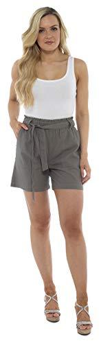 CityComfort Shorts de Lino para Mujer Mujeres Pantalones Cortos de Lino para el Verano, Vacaciones, Playa | Cintura de Bolsa de Papel de Moda (50, Caqui)