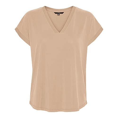 VERO MODA Damen VMFILLI SS V-Neck TOP GA VO T-Shirt, Nomad, S