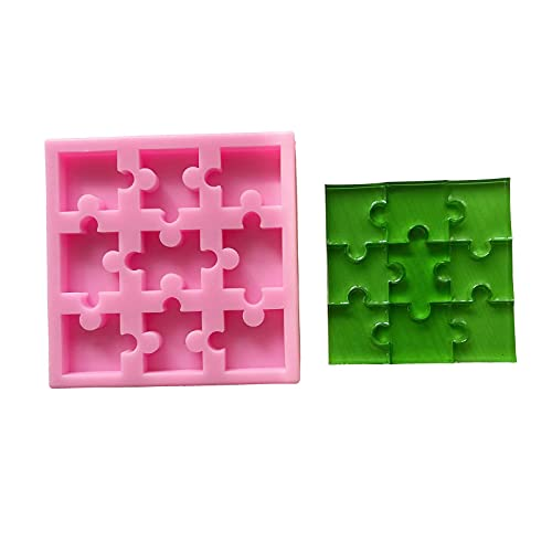 Maiguang 9 Cavities Puzzle Silicone Mold Puzzle Crayons Maker Wax Samples Epoxy Resin Mold Silicone Puzzle Mold for Board Puzzle Game Making Kit Handmade Craft for Kids DIY Fun Time