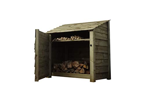 Wooden Log Store With Door and Kindling Shelf 4Ft (1.2 cubic meters capacity) (W-119cm, H-126cm, D-81cm) (Light Green (Natural))