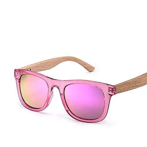 Q4S Gafas De Sol Polarizadas Masculinas Y Femeninas con Montura Y Brazo De Madera,Rosa