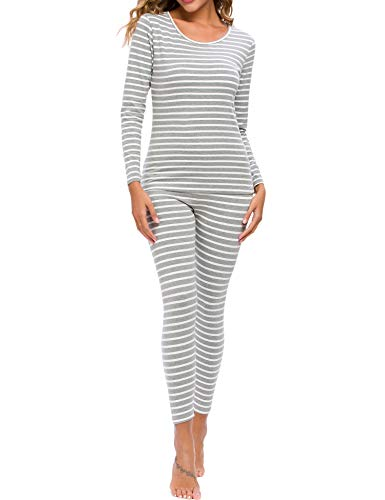 CzDolay Pajamas Set Long Sleeve Sleepwear Womens Stripe Nightwear Soft Pj Lounge Sets (Gray Striped, Medium)