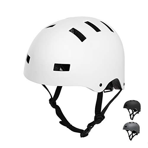 Vihir Erwachsene Fahrradhelm Skaterhelm E-Scooter E-Roller BMX Fahradhelm Herren Damen Sport Helm für Männer & Frauen Schwarz Weiß Dunkelgrau (L 58-60cm, Weiß)