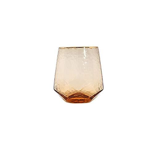 BENGKUI Copa de Vino geométrica Copa de Vidrio Martillado Champán sin Plomo Coral de Oro Lado de Oro Vino Tinto (Color : Short Glass)