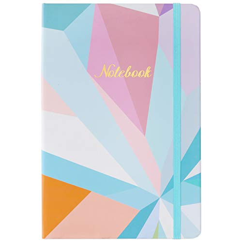 "Journal/Ruled Notebook - Hardcover Ruled Journal with Thick Paper, 5.8"" x 8.4"", Back Pocket + Bookmark + Round Corner Paper + Banded - Color Blocking"