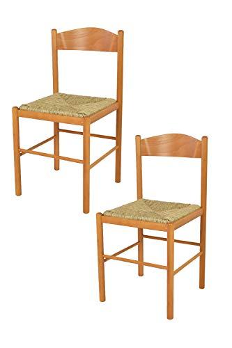 t m c s Tommychairs - Set 2 sedie Classiche Pisa 38 per Cucina, Bar e Sala da Pranzo, con Robusta Struttura in Legno di faggio Verniciato Color Miele e Seduta in Paglia Vera
