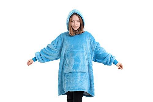 iHallo Kinder Mädchen Hoodie , Oversize-Decke, Kapuzenpullover, Fleece Bademantel für Junge und Mädchen Hell Blau