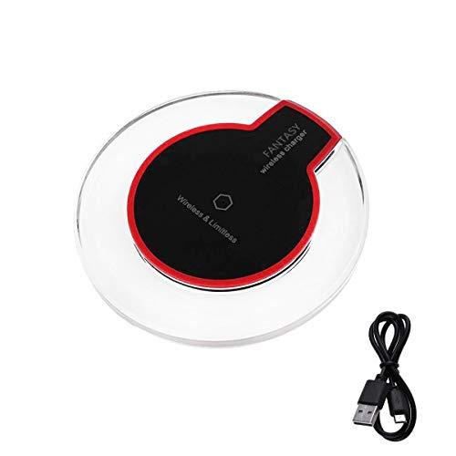 HaiQianXin Ultradünne drahtlose Qi-Ladestation für kabelloses Kristallladegerät für Smartphone (Color : Black)