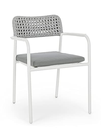 PEGANE Lot de 4 fauteuils Coloris Blanc avec Coussins - L 56.5 x P 62 x H 78 cm