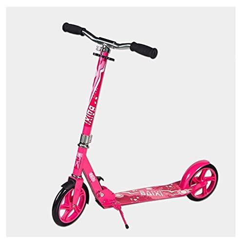QIXIAOCYB Scooter portátil para niños y Adultos Altura Ajustable con 2 Ruedas Grandes Pliegue instantáneo Ligero para Llevar a Cabo el Scooter clásico portátil de Rosa (Color : Pink)