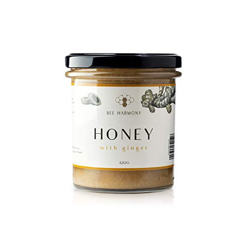 BIO-Honig, natürlicher und gesunder Honig im Glas, Honig mit natürlichen Zutaten (Ingwer)