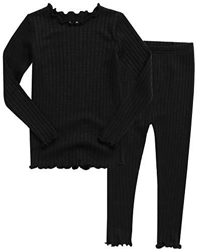 VAENAIT BABY Kids Girls Long Sleeve Modal Sleepwear Pajamas 2pcs Set Shirring Black S