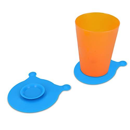 kwmobile 2x Antirutsch Untersetzer für Baby Geschirr - mit Saugnapf - Silikon Halter für Teller Glas Becher - Blau