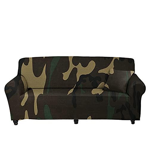 FKRAINSAN Vier Jahreszeiten Universal All Inclusive-Sofa-Beschützer, Leopard-Druckfarbe, die elastische Zuhause staubfest Sofa-Cover,Tarnen