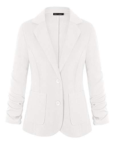 Women Button Blazers 3/4 Ruched Sleeve Work Office Blazer Jacket (White,M)