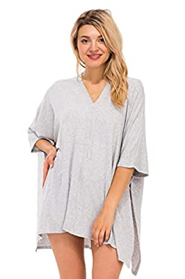 Oversized Loose Fit V-Neck Center Band Detail Poncho Top H-Gray 3X