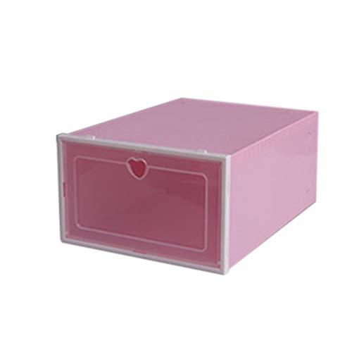 Caja de Zapatos, 6 Cajas Apilables Almacenamiento Plástico Transparente Organizador Plegable, Contenedores con Tapas para Mujeres Hombres, 33x23x14cm (Rosa)