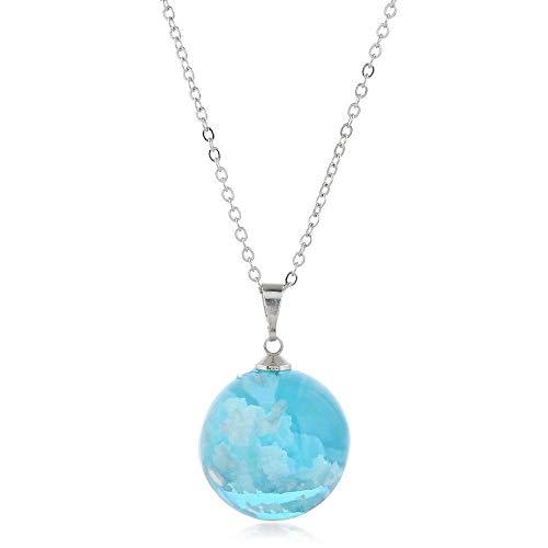 AAA Una variedad de colores con noche azul claro cielo blanco nube collar cielo cielo bola tres dimensiones resina alta transparente colgante transversal
