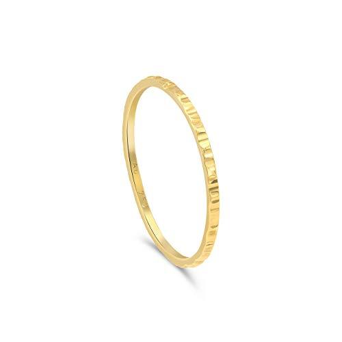 Minimalist Goldring für Frauen, gehämmert. Goldring Damen. Simpler Goldring, Goldschmuck, 18k Gold | Stapelring, Bandring, Ring Damen