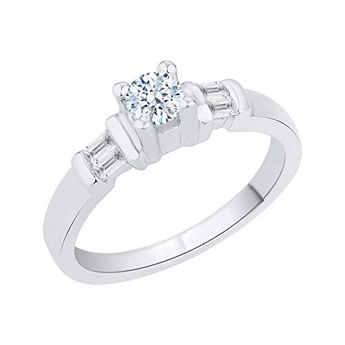 KATARINA Anillo de compromiso de diamantes de talla baguette y redonda en plata de ley (3/8 quilates, I-J, I1)
