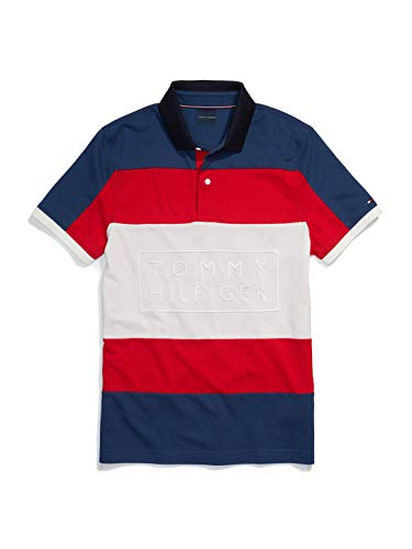 Tommy Hilfiger Men's Adaptive Polo Shirt with Magnetic Buttons Custom Fit, Blue Wing Teal/Bright White/Apple RED, LG