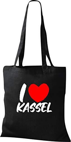 Shirtinstyle Stoffbeutel, I Love Kassel, Lieblingsstadt, Heimatort, Familie, Urlaub, City, Stadt, Sprüche, Beutel, Jute, Tasche, Shopper, Farbe Black