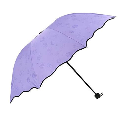 DC CLOUD Paraguas Plegable Paraguas para Niños Paraguas Pequeño Paraguas Plegable para Mujer Paraguas UV Plegable con Diseño De Volantes para Niñas Y Mujeres Purple,One Size
