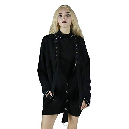 Punk Streetwear Cardigans zwarte gesp enkele borst tiener meisjes, chique vrouwen mode zachte truien met zakken, knie lengte, persoonlijkheid tuniek, 3 maten