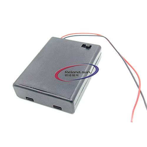 Reland Sun 5pcs AA x 4 batería titular caso plástico batería almacenamiento caja 6V con cubierta interruptor ON/OFF cable (AA4)