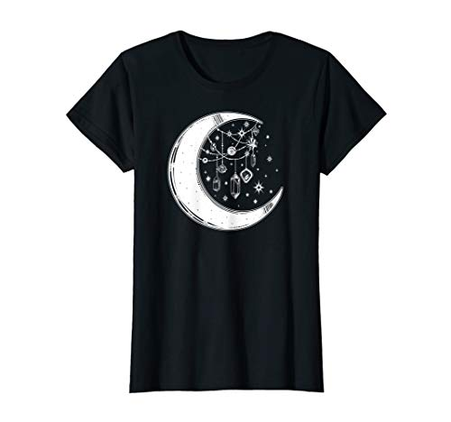 Womens Crystals and Stars Witch's Moon Spiritual Graphic T-Shirt