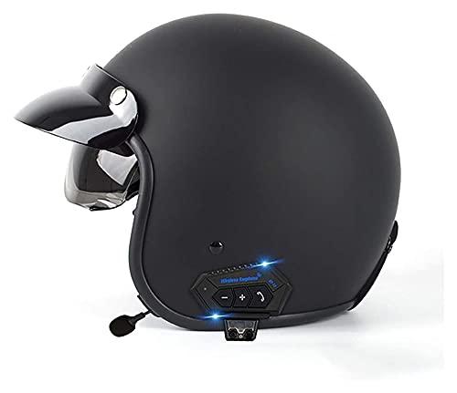 Casco de Moto Bluetooth, Casco Jet Retro con Visera Solar Homologado ECE Medio Casco de Moto Vintage Casco Protector para Hombres Y Mujeres (Color : B, Size : M)