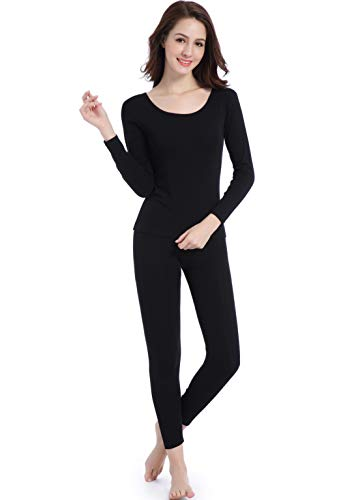 Womens - Crew Neck - Thin Thermal Base Layer Wicking Long Johns Underwear Set Black
