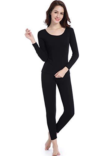 Women Thin Base Layer Long Underwear - Lightweight Johns Thermal Set Crew Neck Black