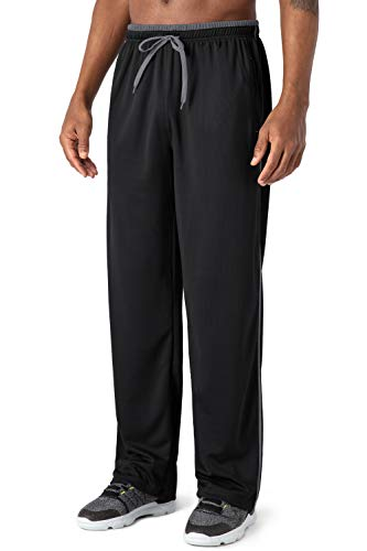 Men's Sweat Pants for Men with Zipper Pockets Open Bottom Elastic Waist Tracksuit Trousers for Jogging, Workout, Gym, Running, Training (Black-Gray)