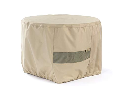 Covermates Round Firepit Cover – Water-Resistant Polyester, Mesh Ventilation, Fire Pit Covers - Khaki
