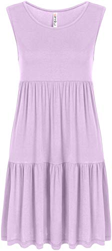 Lavender Sundress for Women Light Purple Casual Tiered Layered Babydoll Summer Dress, Lavender Sleeveless, Large