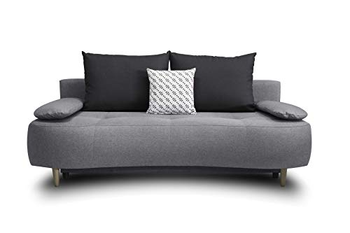 Collection AB B-famous Alana Schlafsofa mit Bettfunktion und Bettkasten, Strukturstoff grau/anthrazit, 200x101x98 cm