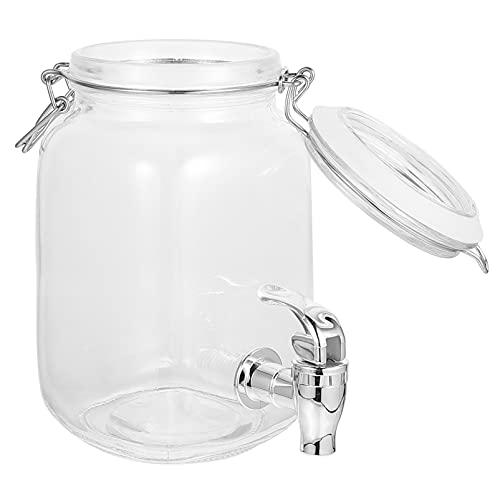 Lurrose 1 dispensador de bebidas de vidrio transparente con espita para el hogar, al aire libre, fiestas y uso diario