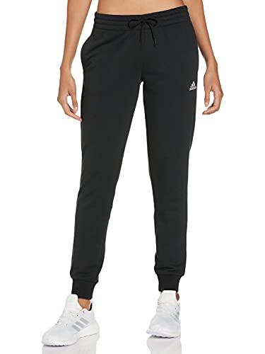 adidas Womens Essentials French Terry Logo Pants, Black/White, M